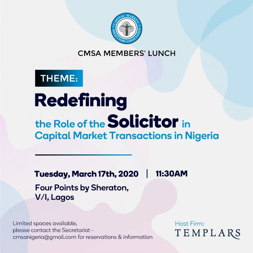 CMSA Members Lunch Coming Up March 17, 2020